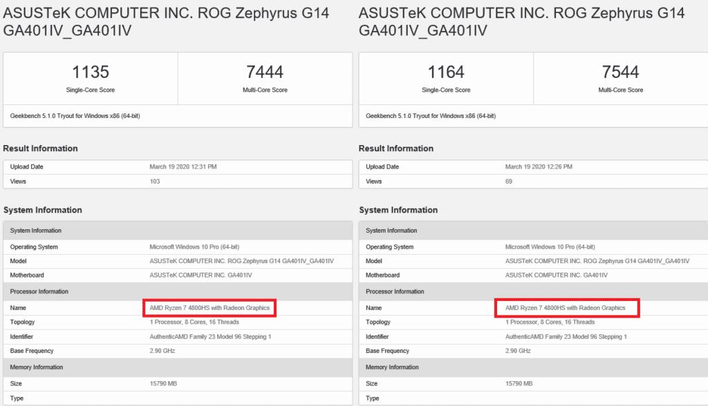 AMD Ryzen 7 4800HS in Asus ROG Zephyrus G14 edges past the Intel Core i9-9880H