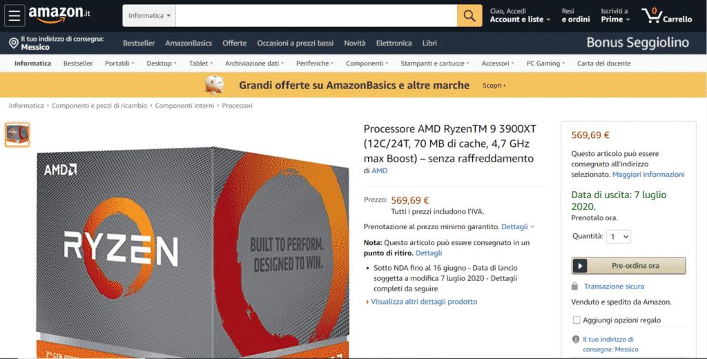 12 Core AMD Ryzen 9 3900XT & 6 Core Ryzen 5 3600XT CPUs listed on Amazon Italy