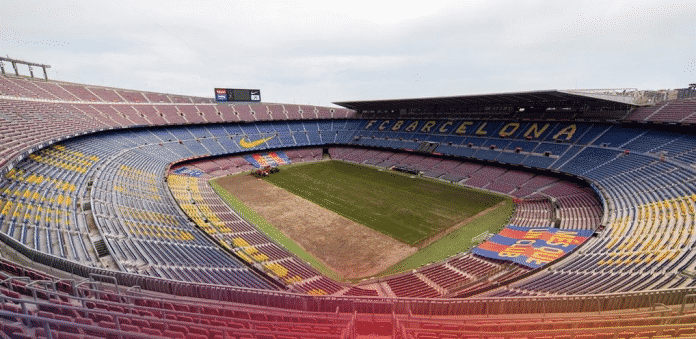 Preparations begin for the upcoming season as Barcelona replaces turf at the Camp Nou