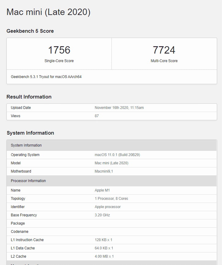 The new Apple Mac mini with M1 chips delivers never-seen-before single-core scores on Geekbench
