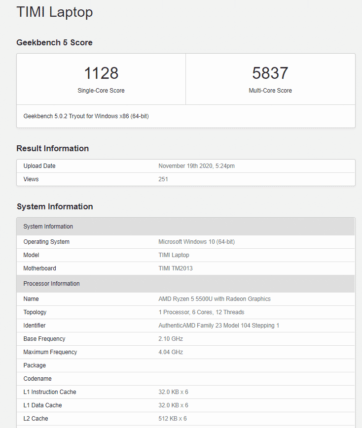 AMD Ryzen 5 5500U with 6 cores & 12 threads seems to be confirmed