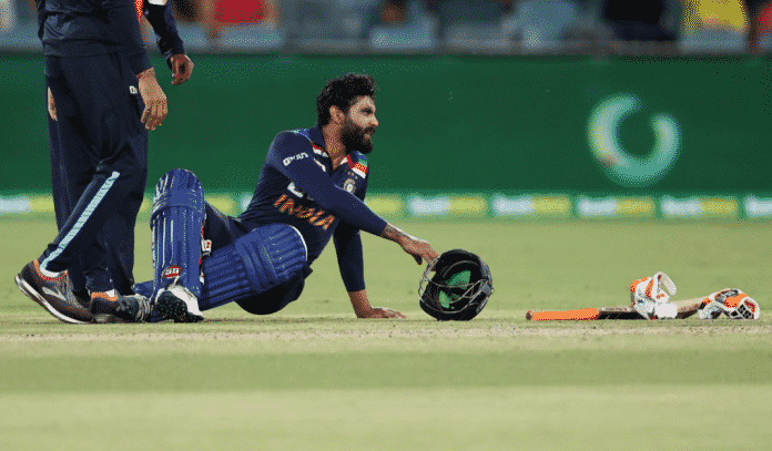 Ravindra Jadeja got hit on the left side of his forehead in the final over of the first innings.