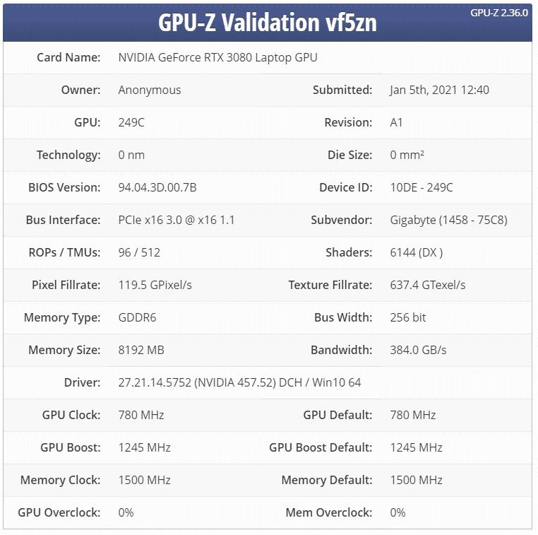 NVIDIA's upcoming GeForce RTX 3080 Max-Q GPU spotted