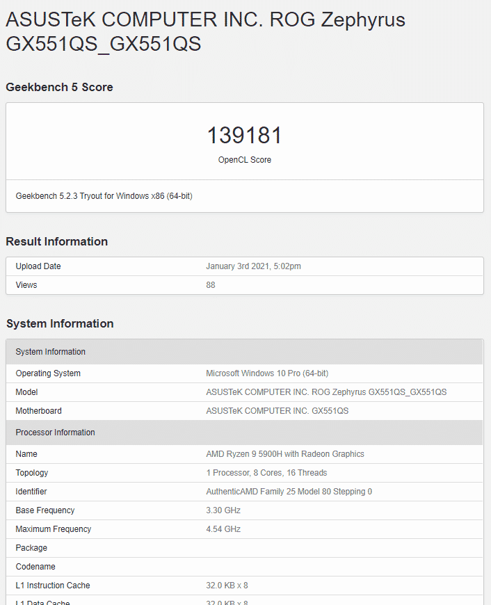 ASUS ROG Zephyrus GX551QS spotted with AMD Ryzen 9 5900H & RTX 3080