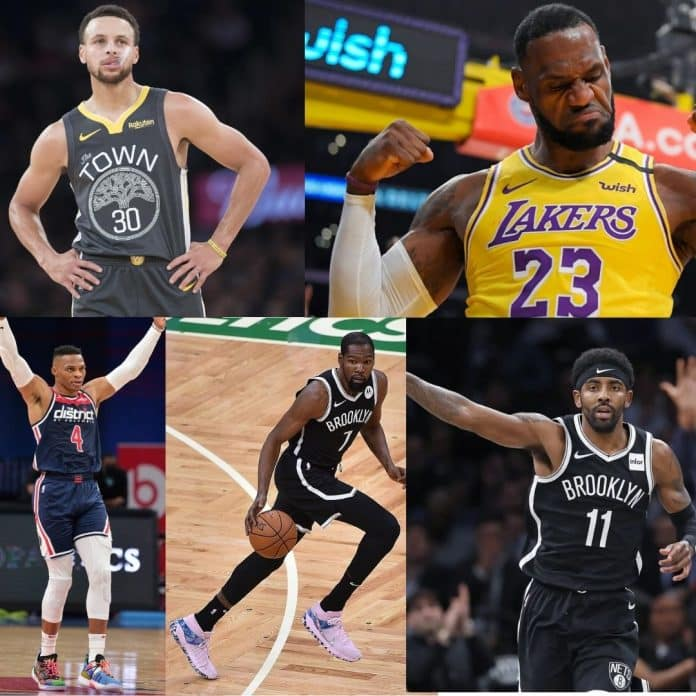 The 5 basketball players with the most number of Instagram followers.