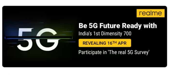 Realme 8 5G launching in India with MediaTek Dimensity 700 on April 16