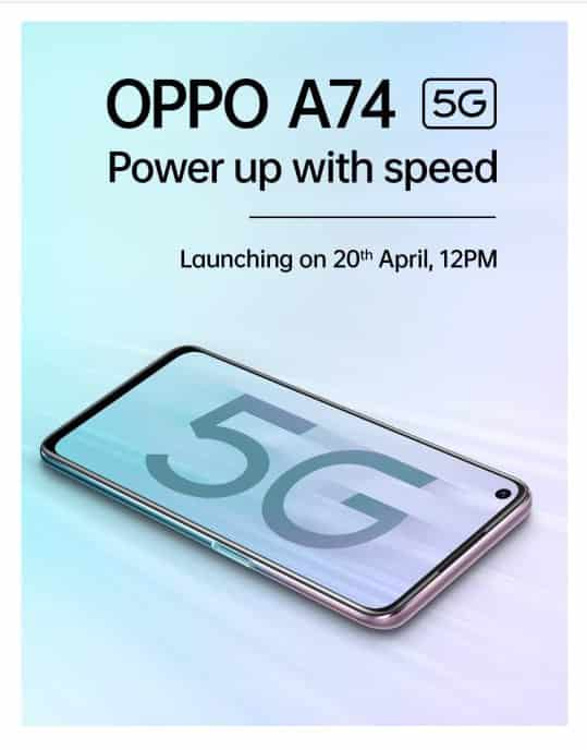 Oppo A74 5G launching in India on April 20