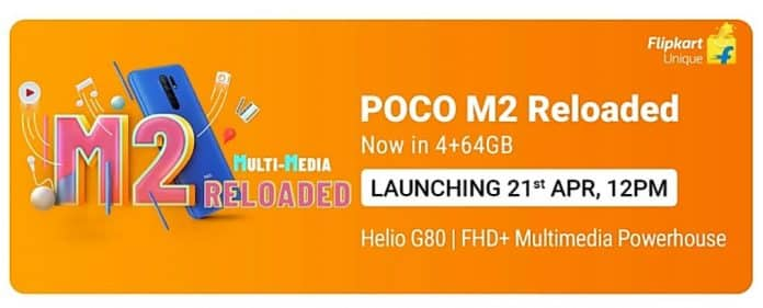 POCO M2 Reloaded Launching on 21st April in India