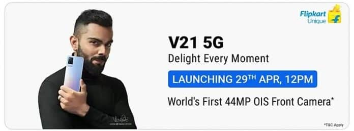 Vivo V21 5G Launching on 29th April in India