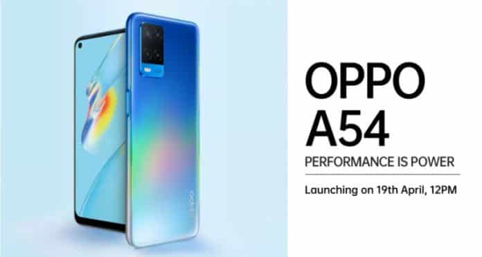 Oppo A54 launching on April 19 in India