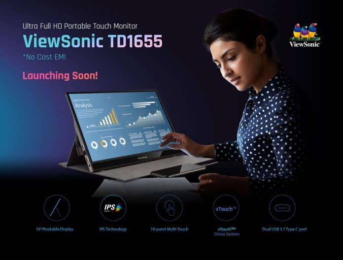 Viewsonic TD1655 16-inch Touch Portable Monitor launching soon in India