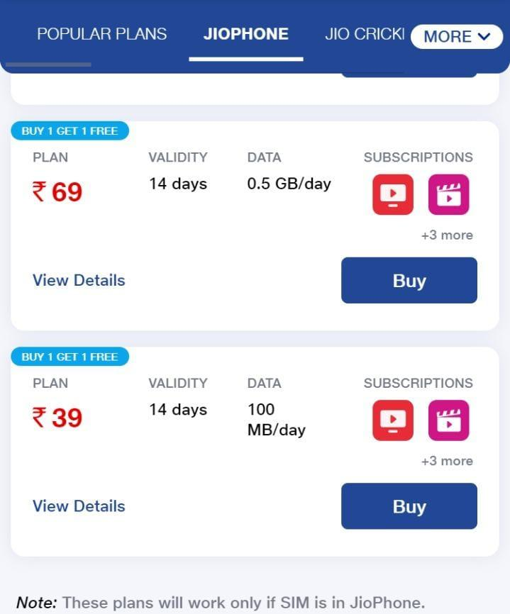 Reliance Jio brings two new JioPhone plans with Buy-One-Get-One-Free Offer