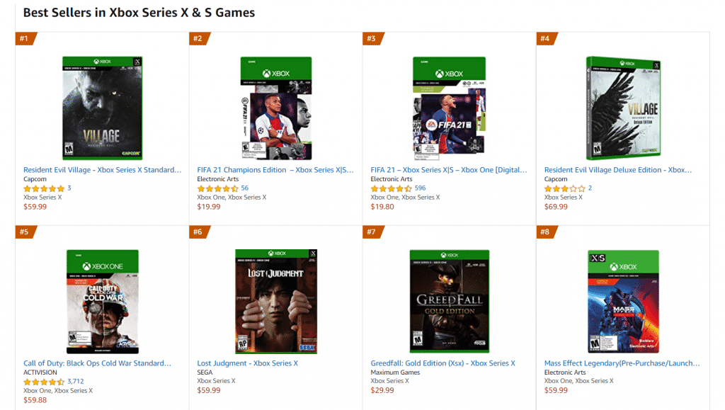 Resident Evil Village becomes the best-selling Xbox Series X & S and PS5 game on Amazon