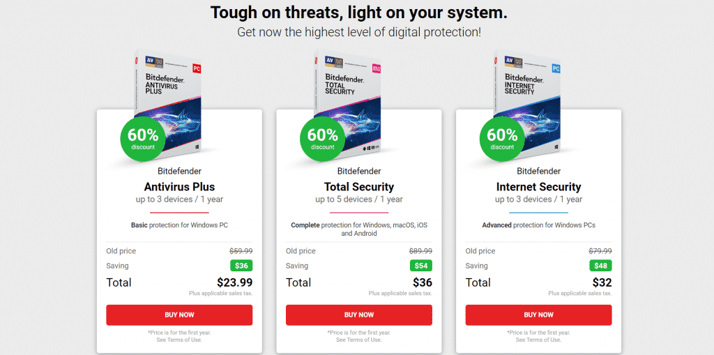 Get up to 60% discount on Bitdefender security software for the first year