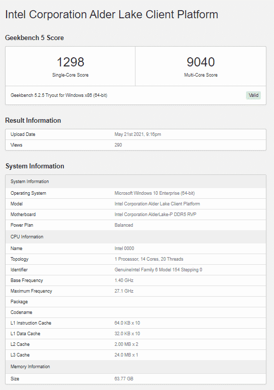 Multiple Geekbench listings of a 14-core Intel Alder Lake CPU spotted