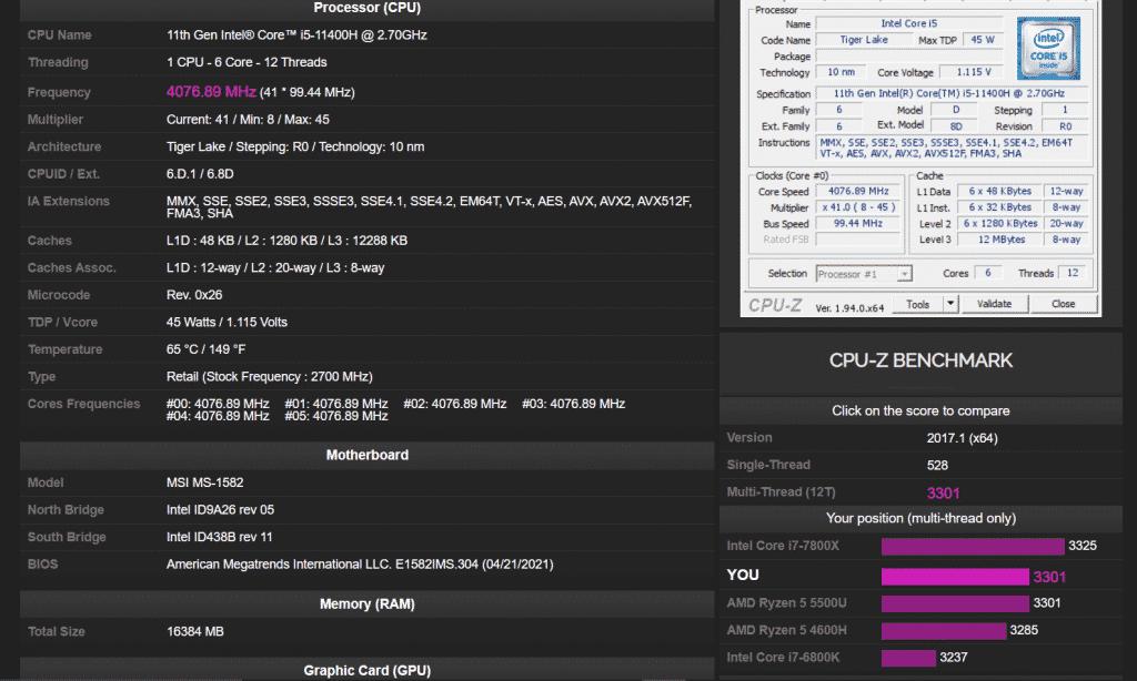New hexa-core Intel Core i5-11400H cannot beat AMD Ryzen 5 5600H in CPU-Z