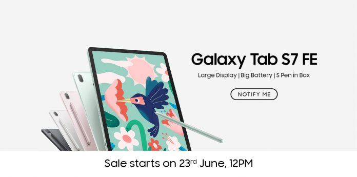 New Samsung Galaxy Tab S7 FE to available from 23rd June on Amazon India